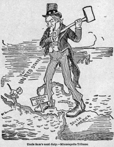 A 1895 cartoon advocating United States action to build the Nicaragua Canal.