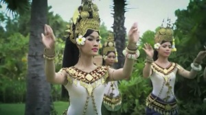 Khmer women in traditional apsara dress.