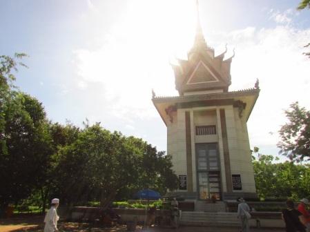 Memorial Buddhist stupa at Choeung Ek, 2014.