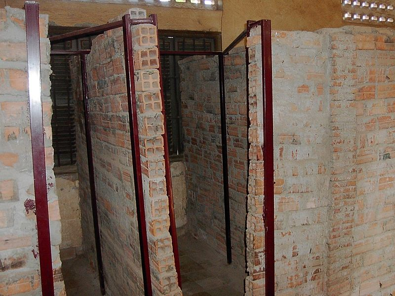 Many of the school rooms were divided into crude cells.