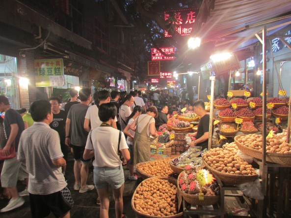Modern street market in Xian, the traditional Chinese terminus of Silk Road Trade.