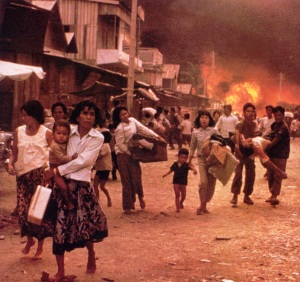 The evacuation of Phnom Penh, 1975.
