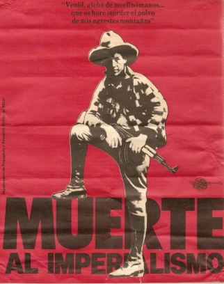 Sandinista poster from the 1980s using Sandino's image and words. Compare the gun in his hands to the photo above from which it is cropped.