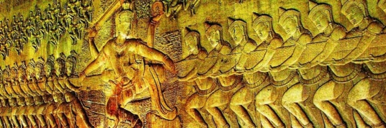 Churning of the sea of milk, bas relief depicting Hindu scripture.