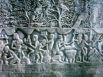 Marketplace in ancient Angkor, bas relief in Bayon Temple.