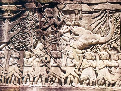 Khmer army, bas relief in Bayon Temple.