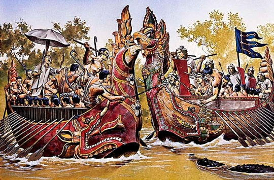 Khmer warriors fighting the Champa.
