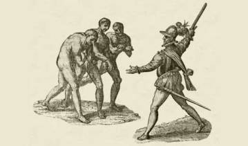 Spanish conquistador taking native slaves.