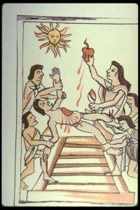 Sacrificial offering to Huitzilopochtli.