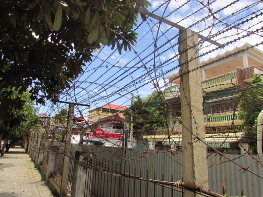 Barbed wire on the perimeter of Tuol Sleng.