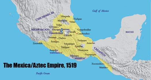 map of the Aztec Empire in 1519 CE-57962176