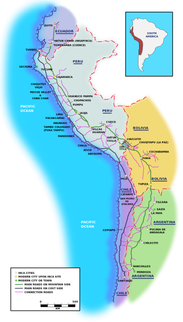 The Inca road system was the most extensive and advanced transportation system in pre-Columbian South America. It was about 39,900 kilometers (24,800 mi) long.