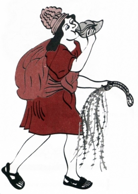 Chasqui playing a pututu (conch shell) and carrying a quipu
