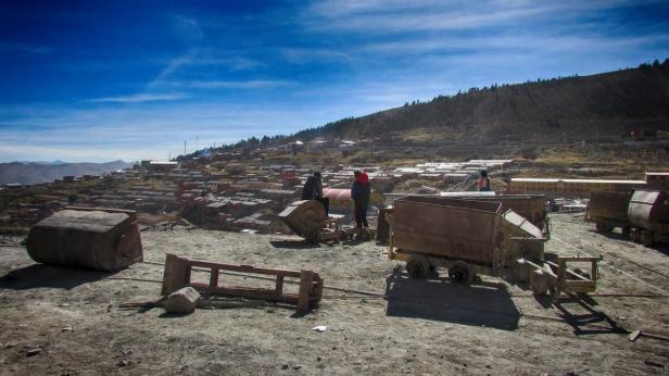 Miners resting in the sun, Potosi, 2016.