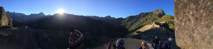 Sunrise at Machu Picchu, a few days after the winter solstice, 2016.  Given their worship of Inti, the Inca often constructed temples and other important buildings to align dramatically with the sun on this important date.