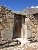 A typical Inca doorway still used in the town. Note the single stone lintel above the doorway, a sign of importance - a person of high rank would have slept here.