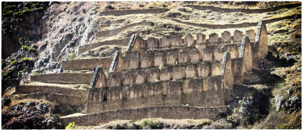 Qullqa (imperial storehouse) above Ollantaytambo, Peru, 2016. This high position would have allowed for good natural ventilation, prolonging the life of the goods stored inside.