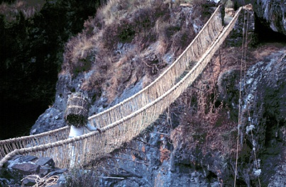 Rope bridge built in the traditional Inca style, Peru, 2010s.