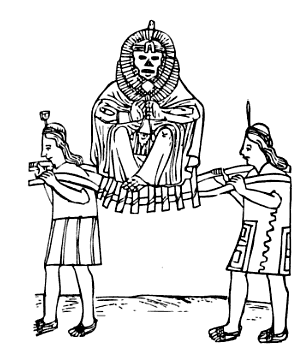 The divine mummy of the Sapa Inca travels by litter in this illustration by Felipe Guaman Poma de Ayala.