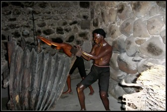 Africans slaves were imported on the scale of tens of thousands after disease, overwork, and hazardous conditions took their toll on the indigenous population. Here, enslaved Africans work the bellows to purify silver ore.