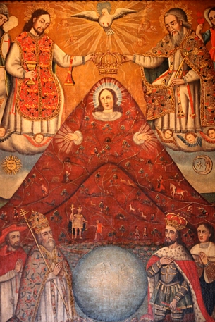 The Virgin Mary, fused with the Cerro Rico — the mountain which provided Potosí with its silver. Native people worshiped pachamama, or the Mother Earth, and by equating the land with the Virgin, Catholic missionaries hoped to slowly supplant pagan imagery.