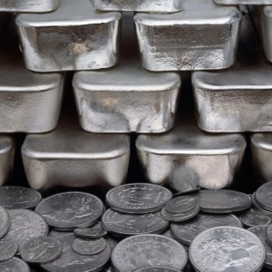 Pure silver bars alongside Spanish silver coins minted at Potosi for over two hundred years.