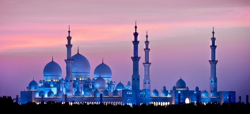 The moon is the source of the Arabian calendar, the months of which start with the appearance of the crescent. The lighting of grand mosque changes throughout the month. During the new moon, it is bathed in blue, and gradually transitions night after night to a sparkling white as the full moon is reached.