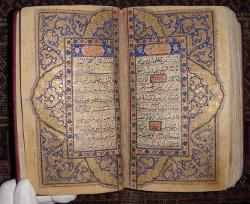 Since depicting Muhammad and other humans in explicitly religious art was considered to be haram, any Qurans and mosques were beautifully decorated with ornate, colorful geometric patterns.