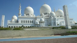The Sheikh Zayed Grand Mosque in Abu Dhabi is one of the world's largest mosques. The nation's prosperity is on display even in its expressions of its Muslim faith - the mosque features the world's 3rd largest chandelier, made of Swarovski crystals, and the whole thing cost half a billion dollars.