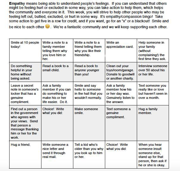 empathy in action bingo