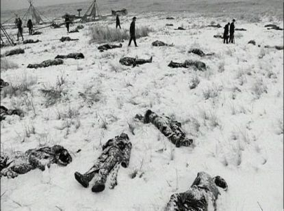 "Dead Sioux in the aftermath of Wounded Knee, 1890. Nearly a century earlier, in a private letter, then-President Thomas Jefferson explained his views on Native American claims to their lands: ""To promote this disposition to exchange [Native] lands, which they have to spare and we want, for necessaries, which we have to spare and they want, we shall push our trading uses, and be glad to see the good and influential individuals among them run in debt, because we observe that when these debts get beyond what the individuals can pay, they become willing to lop them off by a cession of lands.... In this way our settlements will gradually circumscribe and approach the Indians, and they will in time either incorporate with us as citizens of the United States, or remove beyond the Mississippi. The former is certainly the termination of their history most happy for themselves; but, in the whole course of this, it is essential to cultivate their love. As to their fear, we presume that our strength and their weakness is now so visible that they must see we have only to shut our hand to crush them, and that all our liberalities to them proceed from motives of pure humanity only. Should any tribe be foolhardy enough to take up the hatchet at any time, the seizing the whole country of that tribe, and driving them across the Mississippi, as the only condition of peace, would be an example to others, and a furtherance of our final consolidation."""