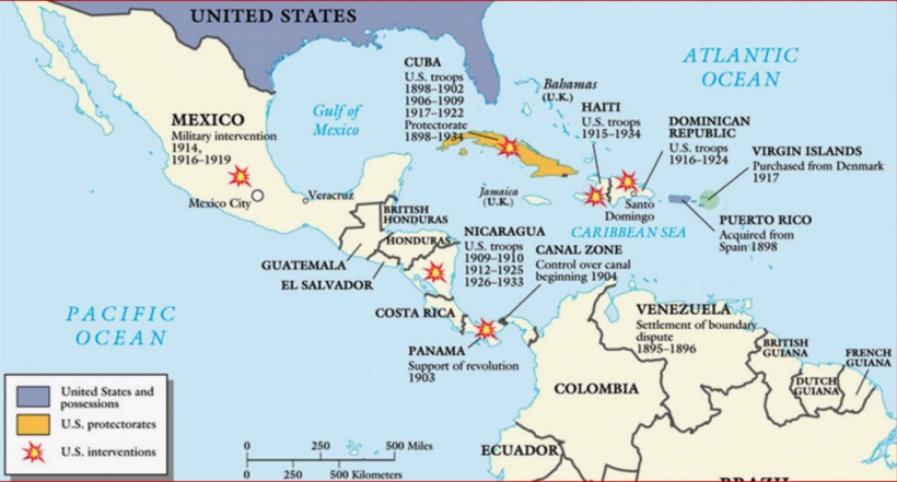 Select US Military Interventions in Latin America and the Caribbean, Early 20th Century