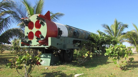 Deactivated SS-4 Sandal (R-12), one of the Soviet missiles deployed to Cuba in 1962, Cabaña Fortress. (Havana, Cuba, 2017.)