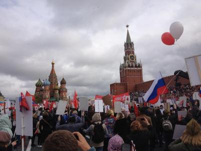 In the annual Immortal Regiment parade, over 500,000 Russians and foreign attendees march in commemoration of those who perished and those who survived World War II. (Red Square, Moscow, Russia, 2017.)