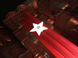 Soviet style banner in front of the State Historical Museum, Moscow, Victory Day 2017.