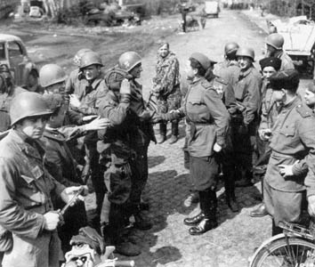 American and Soviet troops meet east of the Elbe River, April 1945
