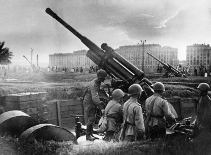 Soviet 85 mm M1939 (52-K) anti-aircraft guns at Gorky Park, Moscow, Russia, 28 Jul 1941
