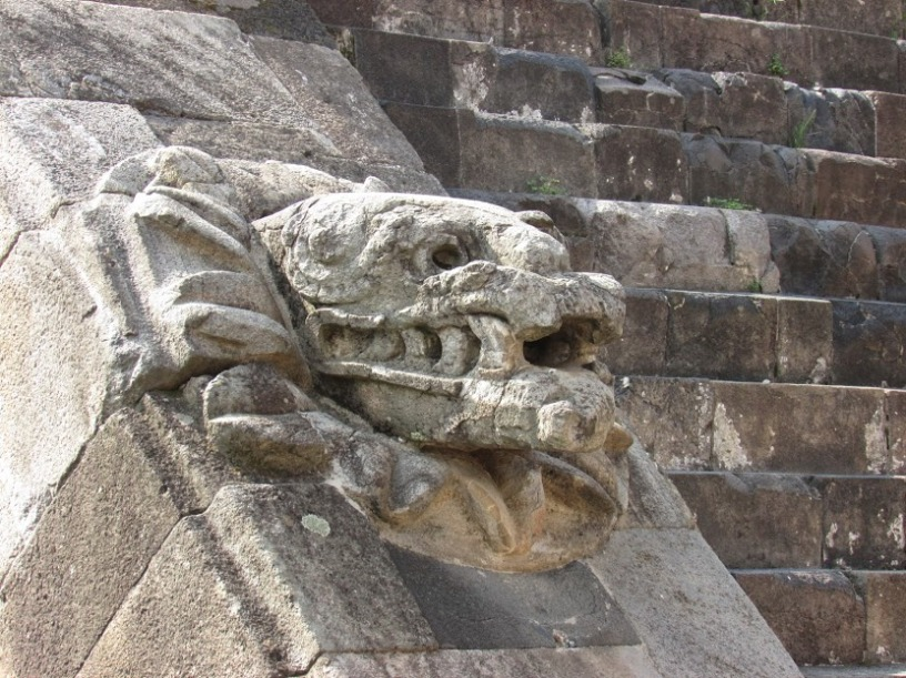 The Feathered Serpent, worshiped later by the Aztec as Quetzalcoatl, god of wind and learning. (Teotihuacan, Mexico, 2016.)
