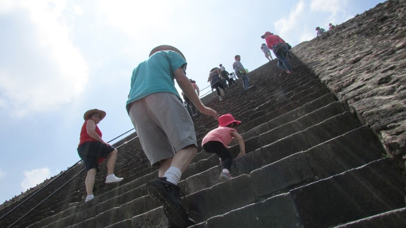 The ascent to the temple that once stood atop the Pyramid of the Sun is remarkably steep. (Teotihuacan, Mexico, 2016.)