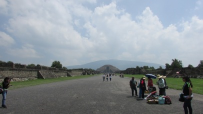 Photo taken at the rough midpoint of the Avenue of the Dead, looking toward the Pyramid of the Moon. (Teotihuacan, Mexico, 2016.)