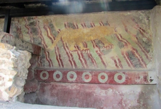 The faded colors of the mural hint at the vibrancy that must have once characterized Teotihuacan, before weather and time took their toll.