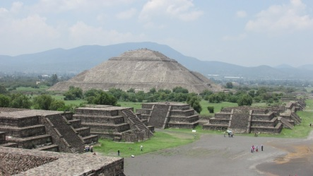 The Pyramid of the Sun, third largest ancient pyramid in the world, as seen from the Pyramid of the Moon. (Teotihuacan, Mexico, 2016.)