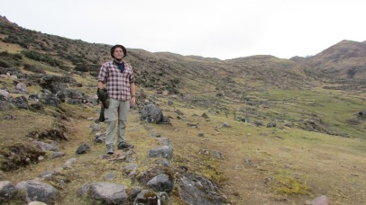 Portions of the Qhapaq Ñan have fallen into disuse, even if they can still be recognized in the countryside, as in this shot of the author. (Lares Valley, Peru, 2016.)