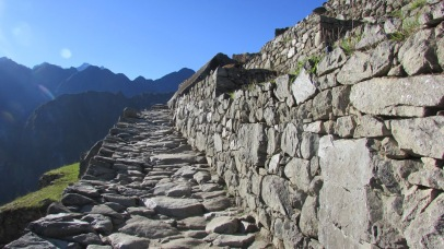 Some portions of the Qhapaq Ñan were meticulously paved with stones. (Machu Picchu, Peru, 2016.)