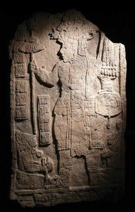 An engraving from the Maya ruins at Tikal, believed to depict Spearthrower Owl, a presumed leader of Teotihuacan.