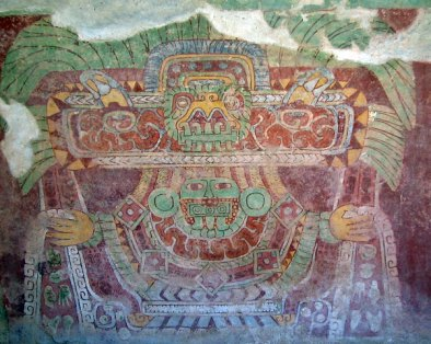 The Great Goddess is apparently peculiar to Teotihuacan, and does not appear outside the city except where Teotihuacanos settled. Two major defining characteristics of the Great Goddess are a bird headress and a nose pendant with descending fangs.