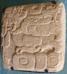 A Classic Period glyph with a representation of Itzamna with the body of a bird.