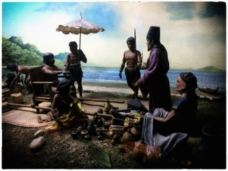 Archaeologists have found evidence for trade with China dating back nearly 2000 years. The first high volume trade began in the 10th Century CE. The Chinese brought ceramics (what we call china), tea, and silk, while the Filipinos offered raw materials like wood, wax, pearls, and tortoise shells. This trade happened regularly, often taking place on the beach. (Diorama in the Ayala Museum, Makati, Philippines, 2018.)