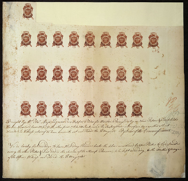 800px-Proof_sheet_of_one_penny_stamps_Stamp_Act_1765
