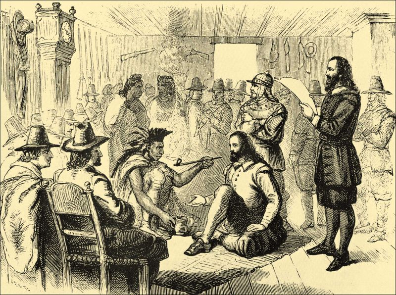 Massasoit and governor John Carver smoking a peace pipe.